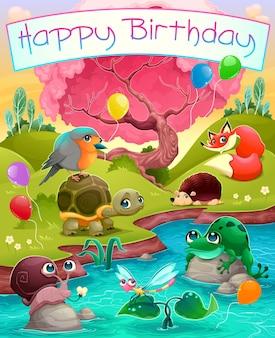 Happy birthday-karte mit süßen tieren in der landschaft vector cartoon illustration