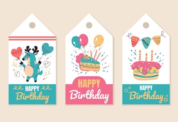Happy birthday party event feier label print design element