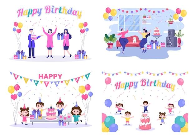 Happy birthday party feiert illustration mit ballon, hüten, konfetti, geschenk und kuchendesign