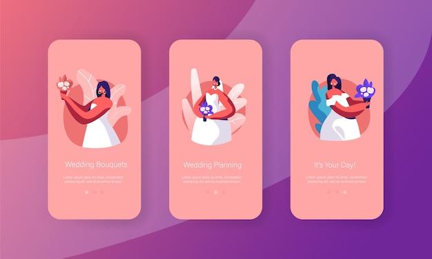 Happy bride hold bouquet mobile app seite onboard screen set. frau mit blumenstrauß tragen weißes brautkleid. future wife look konzept für website. flache karikatur-vektor-illustration