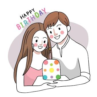 Happy brithday paar und süße kuchen hand zeichnen cartoon niedlich.