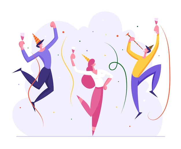 Happy business people party feier illustration