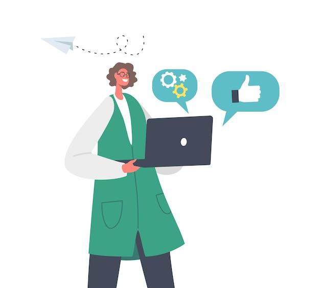 Happy businesswoman character holding laptop mit zahnrädern, daumen hoch und papierflugzeug-ikonen herum. markenaufbau geschäftsprozess, corporate identity konzept. cartoon-menschen-vektor-illustration
