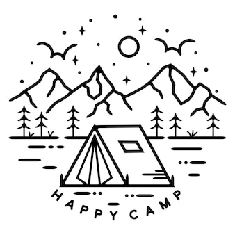 Happy camp landschaft monoline abzeichen design