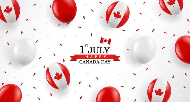 Happy canada day hintergrund mit luftballons und konfetti