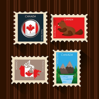 Happy canada-tages-set