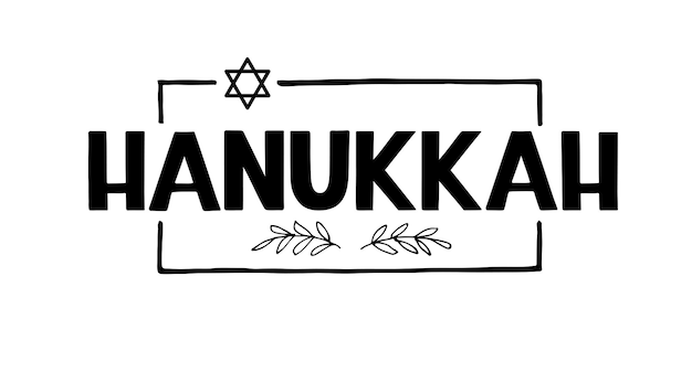 Happy chanukka-feiertagsbeschriftung isoliert auf weißem handgezeichneter vektor-typografischer entwurf