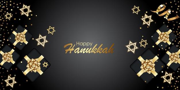 Happy chanukka mit symbolen und goldenem stil auf farbigem hintergrund für chanukka-tag