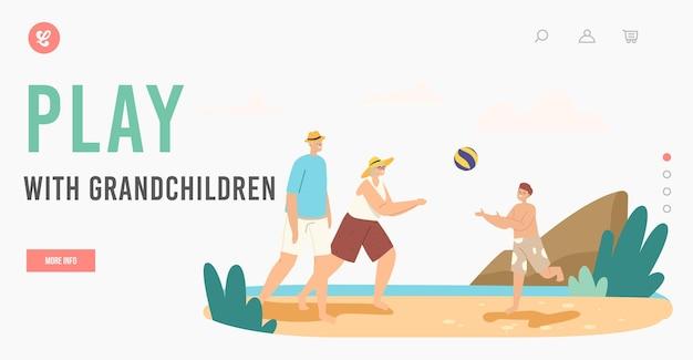 Happy characters summer recreation at ocean shore landing page template. familienfreizeit, urlaub. großeltern und enkel spielen beachvolleyball am meer. cartoon-menschen-vektor-illustration
