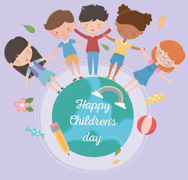 Happy childrens day jungen und mädchen auf der ganzen welt zusammen