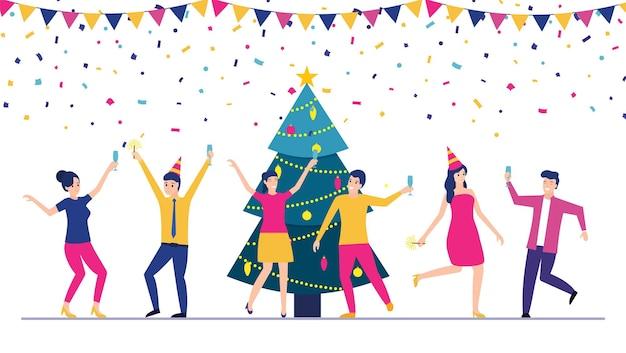Happy christmas day gemeinsam glücklich feiern. gruppe von cartoon-menschen in weihnachtsmütze