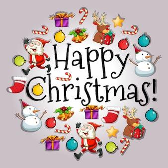 Happy christmas-karte mit santa und objekten