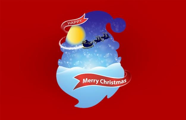 Happy christmas und happy new year auf dem roten hintergrund.