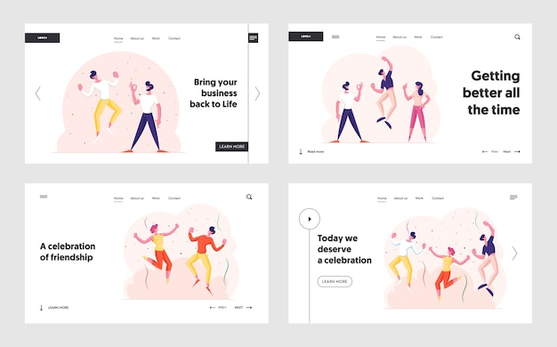 Happy company party feier website landing page set
