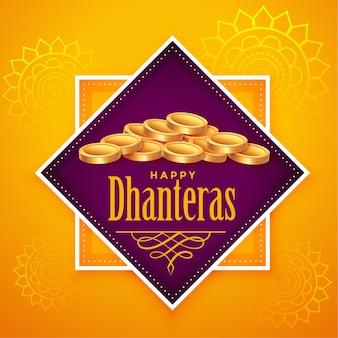 Happy dhanteras backgorund mit vielen goldenen münzen