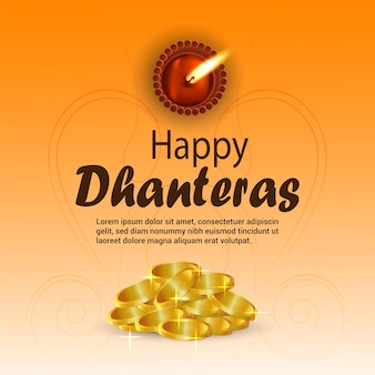 Happy dhanteras feier grußkarte mit goldmünze und diwali diya