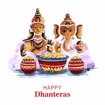 Happy dhanteras feier hintergrund mit göttin ganesh laxami design