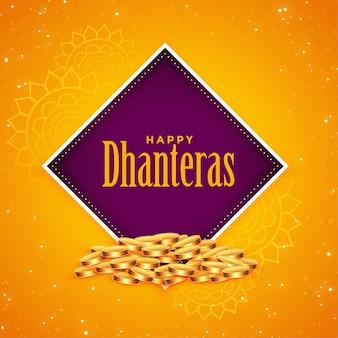 Happy dhanteras goldene münzen festival hintergrund