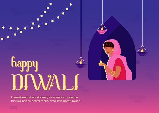 Happy diwali banner flache vorlage. traditioneller indischer feiertag. feierliche zeremonie. broschüre, broschüre einseitiges konzeptdesign mit comicfiguren. religiöser veranstaltungsflyer, faltblatt