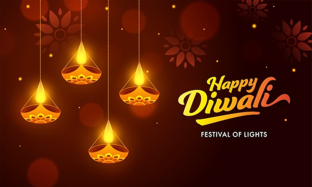 Happy diwali celebration banner design verziert