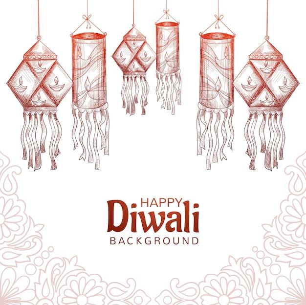 Happy diwali dekorative lichter skizzieren kartenhintergrund