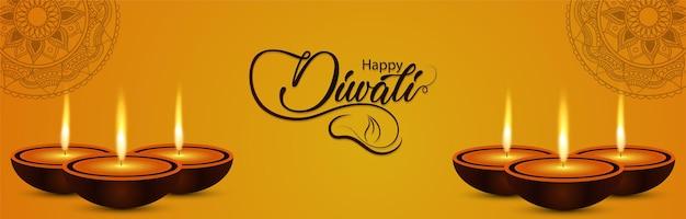 Happy diwali feier banner oder header mit diwali diya