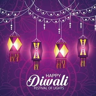 Happy diwali festival der lichter mit laternen