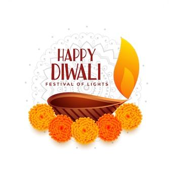 Happy diwali festival des lichts mit diya