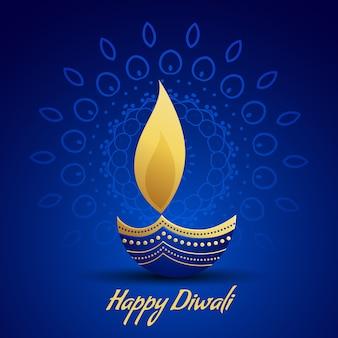 Happy diwali festival gruß mit dekorativen diya lampe auf blauem hintergrund