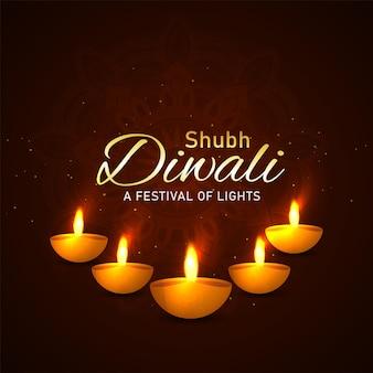 Happy diwali festival of light grußkarte mit diwali diya