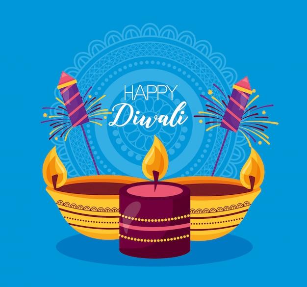 Happy diwali festival poster flach