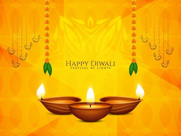 Happy diwali festival schöne religiöse mit lampen
