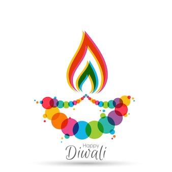 Happy diwali grußkarte mit aufwendiger kalligraphie und diwali lampe
