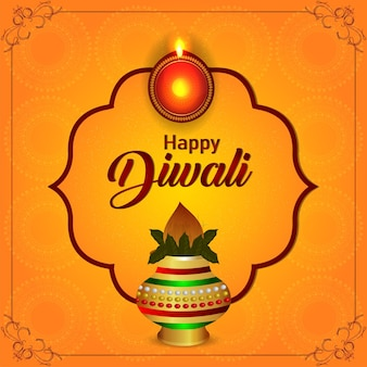 Happy diwali indian festival feier grußkarte mit kreativem kalash