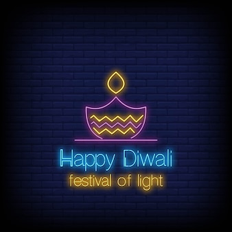 Happy diwali neon-stil