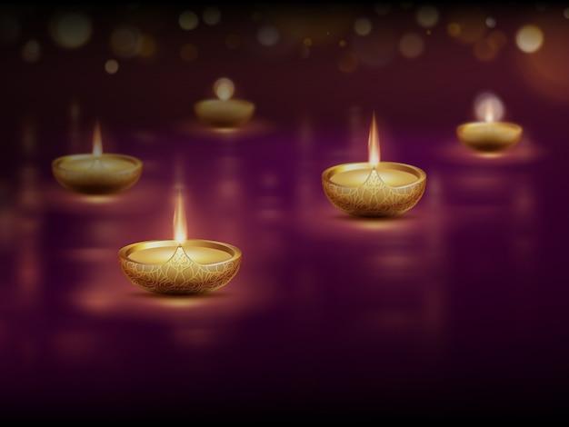 Happy diwali, plakatschablone mit brennenden diya-öllampenkerzen.