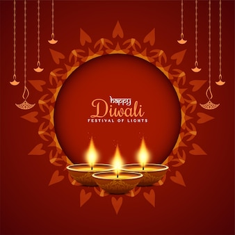 Happy diwali religiöses fest dekorativer roter hintergrundvektor