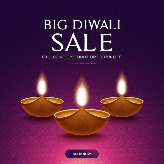 Happy diwali sale design mit diya öllampenelementen auf rosa hintergrund, bokeh funkelnder effekt