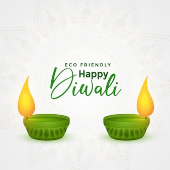 Happy diwali umweltfreundliche festival diya