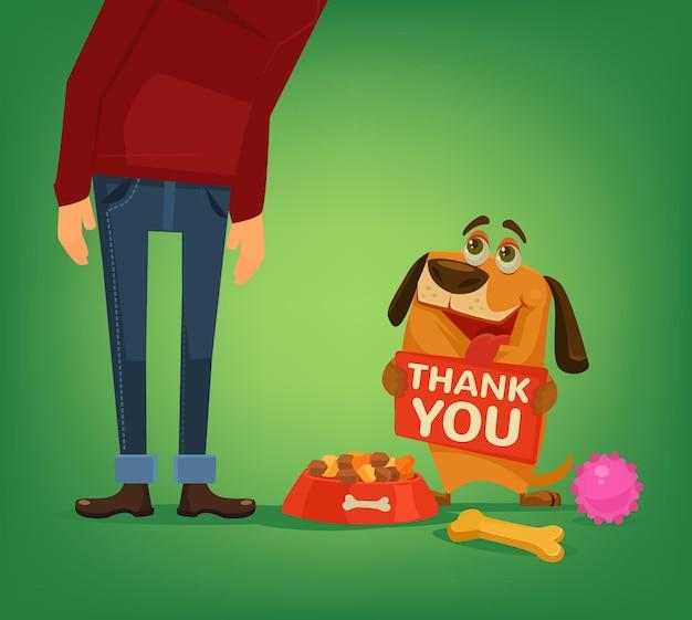 Happy dog charakter halten platte mit dankeswörtern an den besitzer