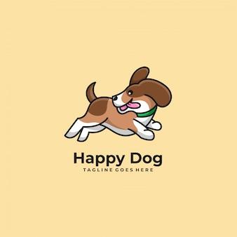 Happy dog jump logo.
