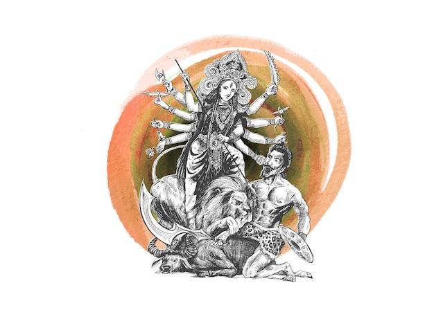 Happy durga puja festival indien urlaub hintergrund handgezeichnete skizze vektor-illustration
