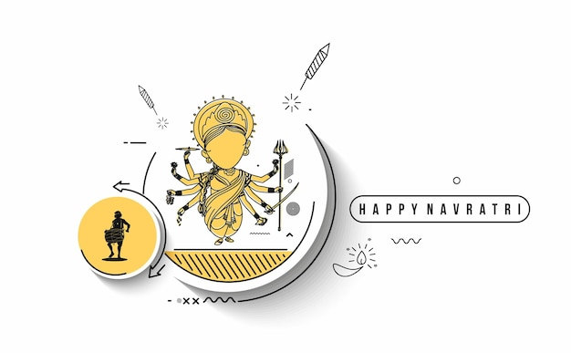 Happy durga puja hintergrund göttin durga hindu festival shubh navratri oder durga pooja.