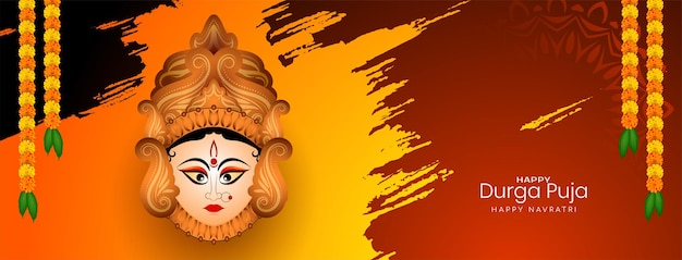 Happy durga puja und navratri religiöses festival ethnischer bannervektor