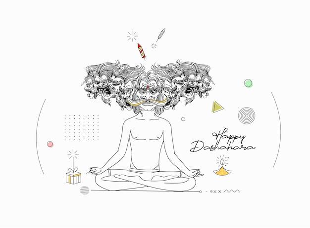 Happy dussehra celebration text - wütender ravan beim yoga.