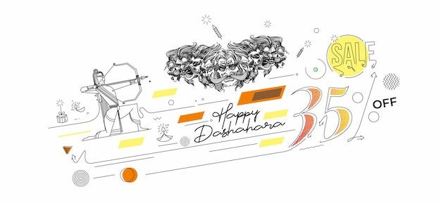 Happy dussehra sale banner poster, strichzeichnungen vektor-illustration.