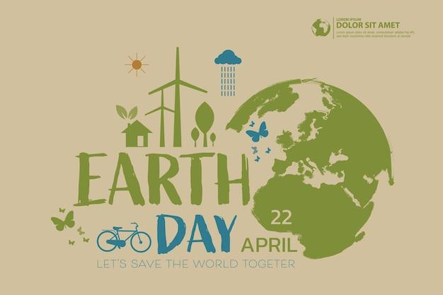 Happy earth day illustration der umwelt sicherheit feier