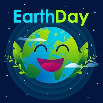 Happy earth day illustration mit dunklem hintergrund und sternengrafik.