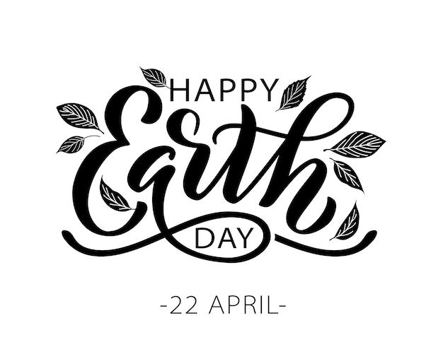 Happy earth day schriftzug mit blättern