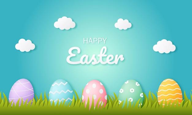 Happy easter day eier. papierkunststil.